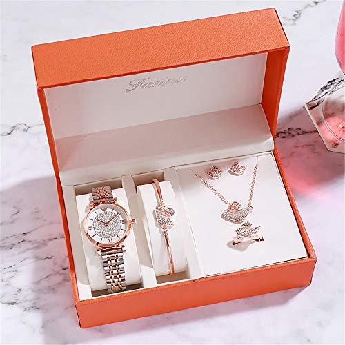 YIBOKANG 5 Pieces of Ladies Watch Pendant Ring Earrings Bracelet Set Diamond Dial Swan Pendant Waterproof Quartz Fashion Watch (Color : 1)