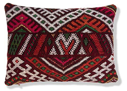 Poefs & Kussen Berber Kussenhoes Rechthoek - Handgemaakt - 100% wol en katoen - 60x40 cm