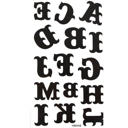 King Horse autocollant imperméable noir tatouage lettre morte de l'alphabet de A à M