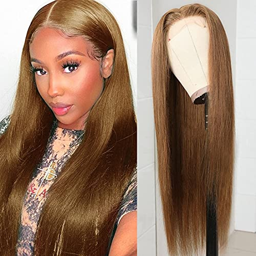 Beauty Forever T Part Lace Human Hair Wigs for Black Women Trendiest Strawberry Blonde Colored Wigs Brazilian Virgin Straight Hair Lace Wigs Pre-plucked Lace Part Wigs 150% Density Middle Part 18 Inch