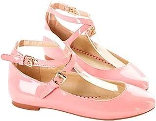 ACHICOO Women Bright Surface Round Head Strip Buckle Shoes
