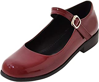 KIKIVA Women Patent Leather Mary Jane School Uniforms Shoes Ankle Strap Flat Pumps