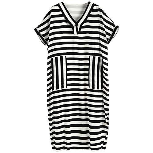 BINGQZ Cocktailjurken Jurk vrouwelijke zomerjurk temperament dames zwart en wit contrast kleur strepen lange losse bottoming rok