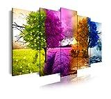 DekoArte 512 - Cuadros Modernos Impresión de Imagen Artística Digitalizada | Lienzo Decorativo Para Tu Salón o Dormitorio | Estilo Paisaje Cuatro Estaciones del año Árboles Morado | 5 Piezas 150x80cm