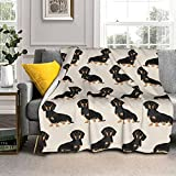 Dachshund Doxie Pet Portrait Hot Dog Throw Blanket, Ultra Soft Microplush Bed Blanket, All Season Microfiber Fleece Throw for Bed Chair Sofa Couch Bedroom 60'X50'