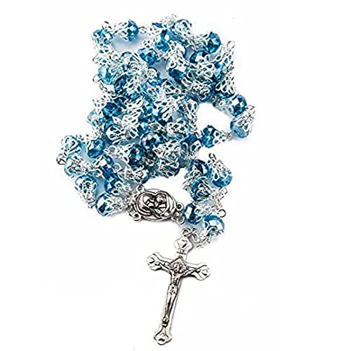 Collar de hombres y mujeres vintage rosario de cristal collar y copa larga cruz colgante joyas de oración religiosa 5