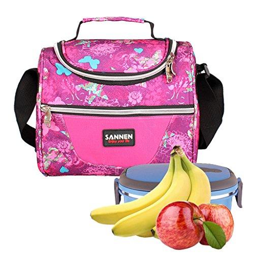 WHT Sac à Lunch isolé, Sac à Lunch Scolaire pour Enfants Enfants Cooler Bag Fourre-Tout avec Bandoulière pour Femmes Hommes Garçons Filles(Rose)