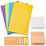 WXJ13 480 hojas de notas adhesivas forradas que incluyen 200 hojas de notas, 160 hojas de notas autoadhesivas, 120 hojas de marcadores de páginas de colores para oficina, escuela, reunión y hogar.