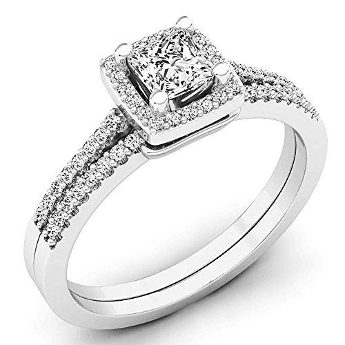 Dazzlingrock Collection Juego de anillos de compromiso de oro de 14 quilates con halo de princesa y diamante redondo de 0,50 quilates