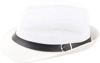 0d1f95ff91a794 Beach Short Brimmed Mesh Hats Trilby Fedora Panama Straw Hat for Men Women