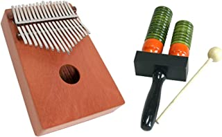 Hand Percussion Package Includes: 17 Key Kalimba Thumb Piano, Red Cedar - Hand Percussion + Double Bell Wooden Agogo w/Mallet
