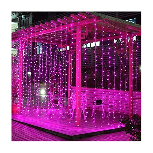 Valuetom 304 LED Curtain Lights Fairy String Twinkle Lighting for Party Wedding Home Garden Decoration 9.8Ft9.8Ft (Pink)