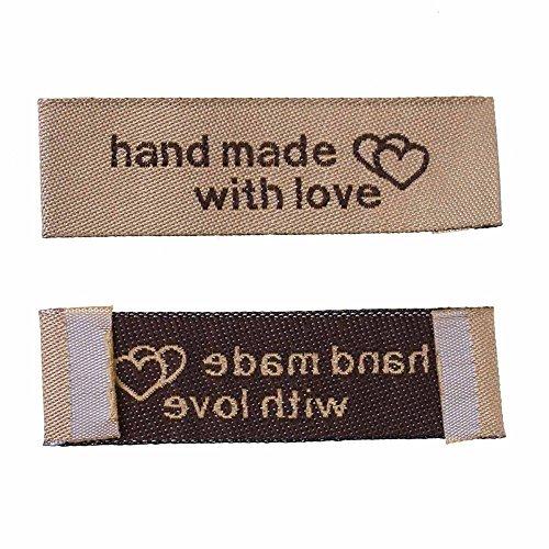 """100 unds etiquetas marrones""""hecho a mano con amor"""" para ropa manualidades scrapbooking regalos personalizados detalles invitados eventos de CHIPYHOME"""