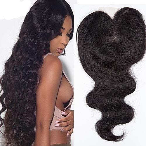 Mike Wodehous Top Verschluss-Körper-Wellen-Haar-Verlängerungen 130% Dichte Rohboden Menschliches Haar brasilianische Spitze Frontal Verschluss 4 * 4 (Color : Black)