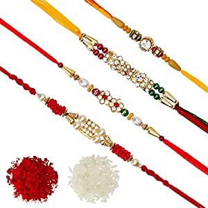 DishanKart Pack of 4 Rakhi for Men with Roli Chawal Tilak – AD Ring With Wooden Beads & Red Green Beads