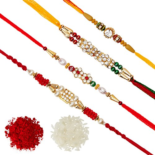DishanKart Pack of 4 Rakhi for Brother, Men with Roli Chawal Greeting Card - AD Ring With Wooden Beads & Red Green Beads
