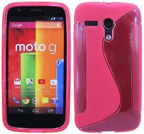 ENERGMiX Silikon Hülle kompatibel mit Motorola Moto G (1.Gen.) Schutzhülle Case Cover Gel in Pink