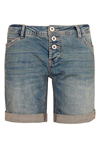 Sublevel Damen Jeans Bermuda-Shorts mit Denim Aufschlag Dark-Blue S