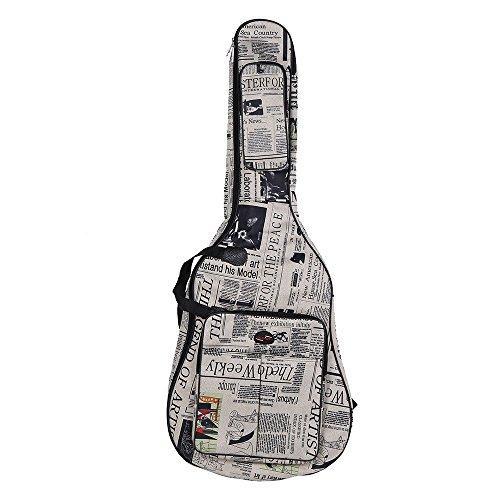ammoon 600D Wasserdicht Oxford Cloth Zeitung Art Doppelt genähte Gepolsterte Tragegurte Gig Bag Gitarre Tragetasche für 40 Zoll Akustikgitarre Klassik Folk