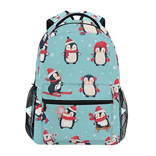 Winter Christmas Penguins Backpacks Travel Laptop Daypack School Bags for Teens Men Women