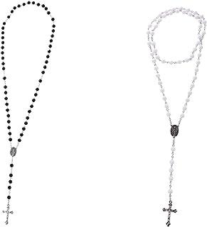F Fityle 2Pcs Antique Catholic Rosary Beads Necklace with Jesus Christ Crucifix Cross Pendant, Religious Women Men Jewelry...