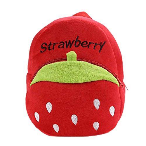 Cartoon Fruit Pattern Kids Child Small Soft Plush Schoolbag School Bag Backpack Red Strawberry