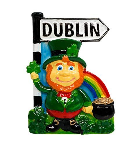 zamonji Dublin, Leprechaun, Kobold mit Topf voller Gold und Wegweiser, Irland 3D Harz Kühlschrankmagnet Souvenir Tourist Geschenk