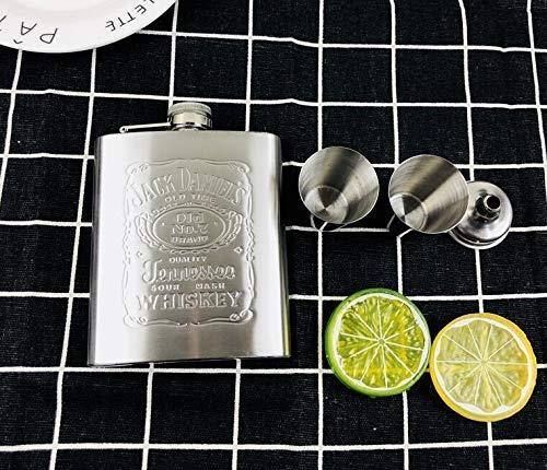 Kolven 7oz whiskyfles Imprint jack wodka fles trechter 304 RVS alcohol drank heupfles kopjes zwarte festival gift box set Metal (Kleur: Jim set) Mooie delicate draagbare heupfles.