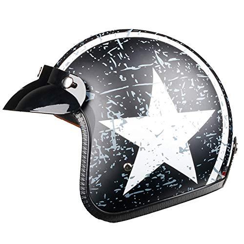 TOUKUI Casco de moto jet con cara abierta Captain Star, casco para moto vintage, piloto cafe racer helm summer@negro blanco_M