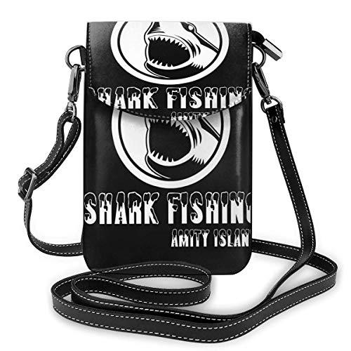 Crossbody teléfono celular monedero Quints tiburón pesca amity isla mujeres pu cuero multicolor bolso con correa ajustable