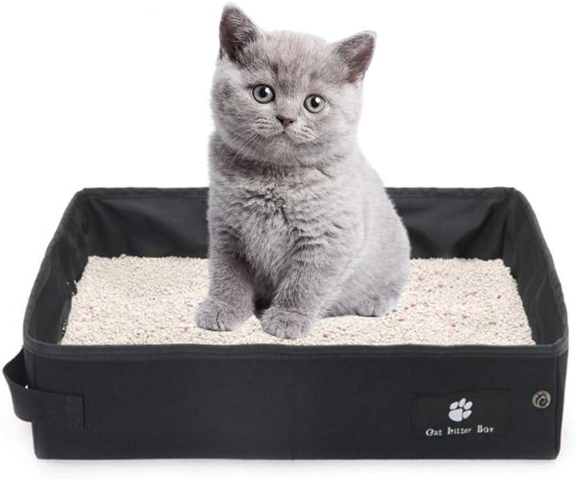 OMEM Caja de Arena Portátil Plegable para Viajes en Seco y Húmedo para Gatos. Impermeable y Plegable, Fácil de Llevar para Viajes (Pequeño, Negro)