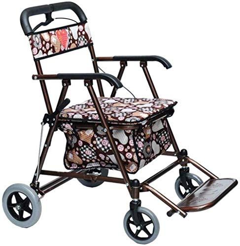 Opvouwbaar winkelwagentje met zitje, lichtgewicht rollator voor volwassenen, senioren, ouderen en handicap