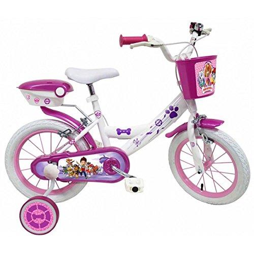 Disney - Vélo Enfant Fille Pat Patrouille Skye Everest - 14 Pouces (3/5 Ans) - Coloris Blanc/Violet...