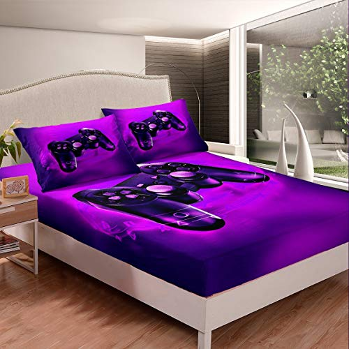 Feelyou Games Bed Sheet Set Video Game Gamepad Bedding Set for Kids Boys Teens Novelty Modern Game Controller Fitted Sheet Gamer Purple Gamepad Bed Cover,3Pcs Sheets Full