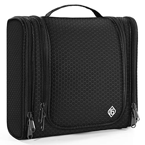 16 Hanging Toiletry Travel Bag for Men and Women Heavy Duty Waterproof Sturdy Hook Shower Bag ONLY SIXTEEN (Black)