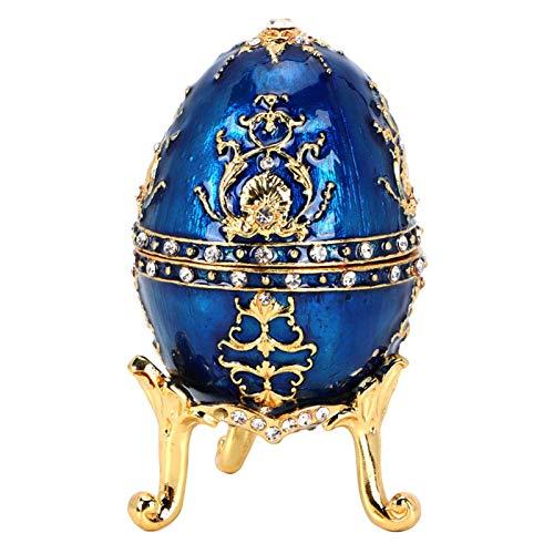 Cyrank Joyero de Huevo de Fabergé esmaltado Pintado a Mano, Organizador de Joyas de Diamantes Artificiales Chapado en Oro, Caja de baratijas, decoración del hogar