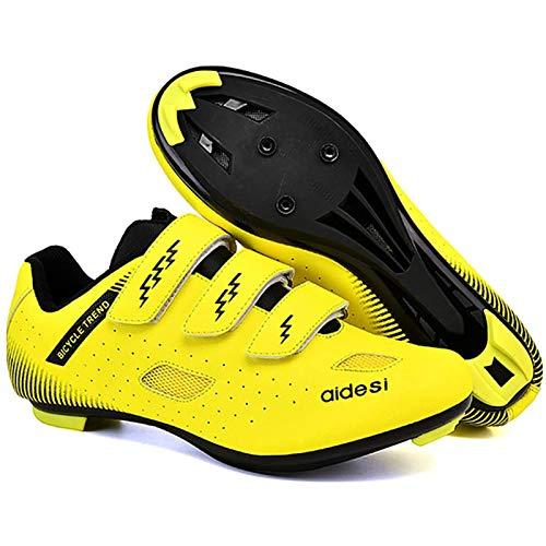 WDZJM Zapatillas de Ciclismo, Parejas, Ciclismo de Carretera, Bloqueo de Cordones, Ciclismo de montaña, Calzado Deportivo al Aire Libre (Color : D, Size : 42)