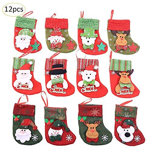 Yunt 12 pezzi Calze di Natale Decorazioni Natalizie Mini calze natalizie Sacchetto di Caramelle