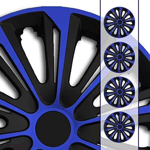 (Größe und Farbe wählbar!) 15 Zoll Radkappen / Radzierblenden STR-Bandel BICOLOR BLAU (Farbe Schwarz-Blau), passend für fast alle Fahrzeugtypen (universell) – nur beim Radkappen König