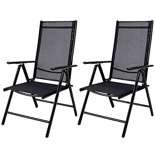 Deuba 2x Garden Dining Chair Bern Folding Chairs Set Aluminum Recliner Outdoor Patio Silver or Anthracite