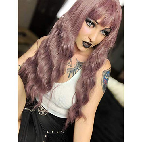 G&T Wig Long Wavy Wig with Bangs, Pink-Purple Colorful Wigs for Women - Heat Resistant Synthetic Hair Replacement Wigs for Daily Party Cosplay Use (26 inch,mix purple)