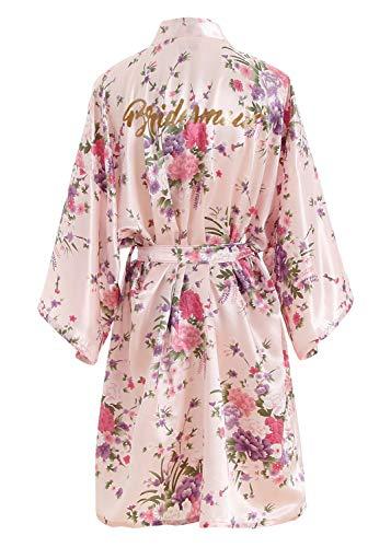 YAOMEI Novia Mujer Vestido Kimono Satén, Camisón para Mujer, Sedoso Flores de Cerezo Robe Albornoz Dama de Honor Ropa de Dormir Pijama, S-2XL (Busto: 126cm, Fit S-2XL, Pink Bridesmaid)