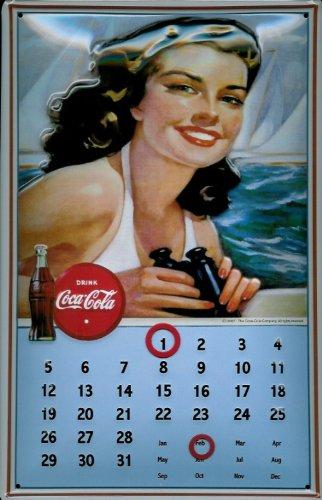 Buddel-Bini Versand Affiche métallique avec Calendrier voiles Magnet Coca cola