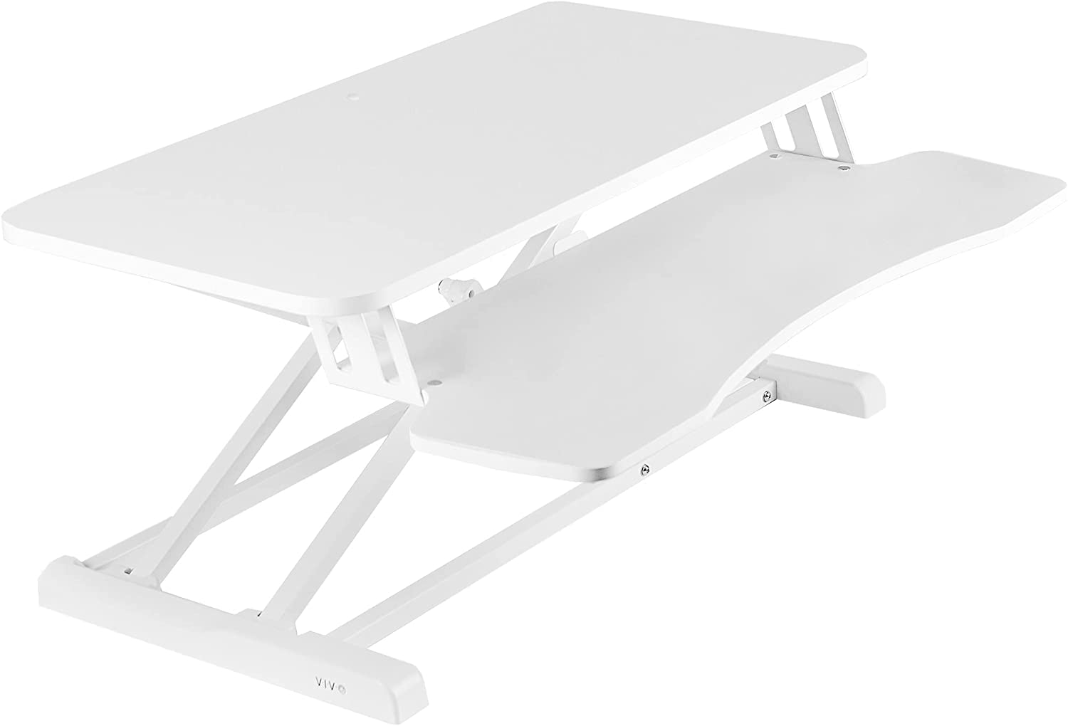 VIVO Standing 32 inch Desk Converter, Height Adjustable Riser, Sit to Stand Dual Monitor and Laptop Workstation with Wide Keyboard Tray, White, DESK-V000KW