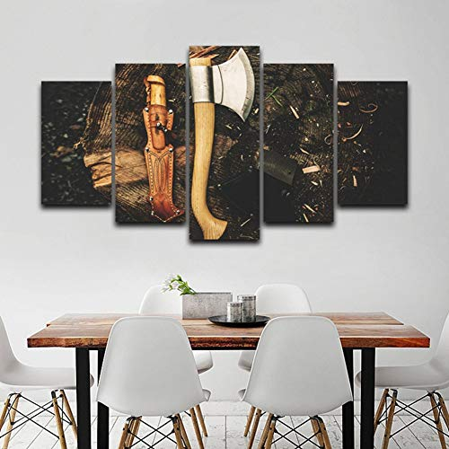 YDBDB canvas muurkunst foto's moderne lijst woonkamer 5 stuks bijl gereedschappen hout moderne decoratie Hd gedrukte poster schilderij mit gerahmten 30 x 50 30 x 70 30 x 80 cm.