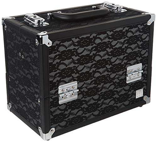 Caboodles Make Me Over 4 Tray Train Case, Cosmetic Storage Case & Organizer, Black Lace, 3.5 Lb