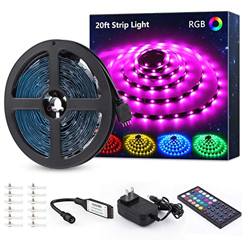 20ft RGB LED Strip Light kit, Color Changing Flexible Dimmable 180 Units SMD 5050 LEDs, 12V LED Tape with 44 Key RF Remote, LED Ribbon for Home Lighting Kitchen Bar,UL Listed Power Supply