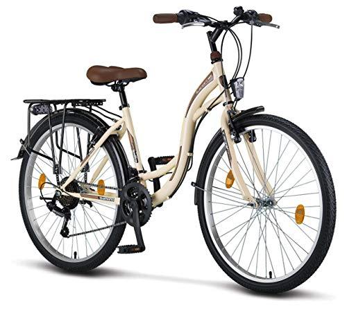 STELLA Bicicleta para Mujer, 26 Pulgadas Luz de Bicicleta Shimano 21 Marchas Ciclismo Niña Mujer Niña Infantil Florencia Amsterdam Bicicleta Hollanda Retro Bicicleta Infantil Bicicleta