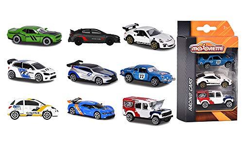 Majorette 212084020 - Racing 3 Pieces Set, Set mit drei Rennautos, Miniaturfahrzeuge, Spielzeugautos, Die-Cast, 7,5cm