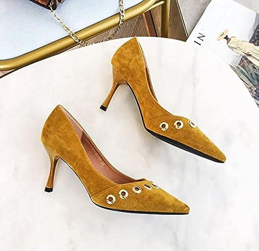MDRW-Dame élégante Travail Loisirs Printemps La Mode Rivets Forte Tête Chaussures Pour Femmes 7Cm De Talons Hauts Bien Peu Profond Talon Travail En Daim Chaussures Unique Le Gingembre